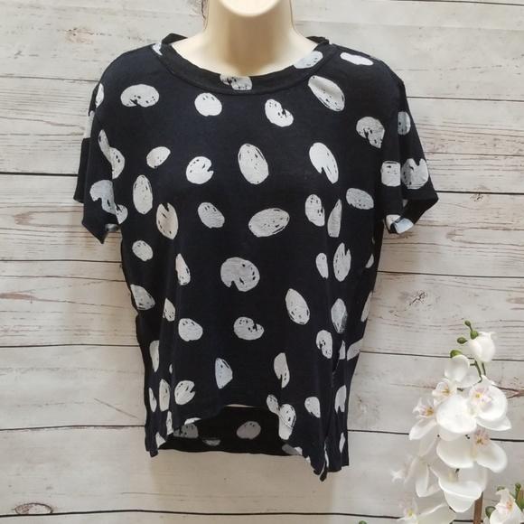 Zara Tops - Zara W&B Collection Navy Blue Polka Dot Tee Shirt